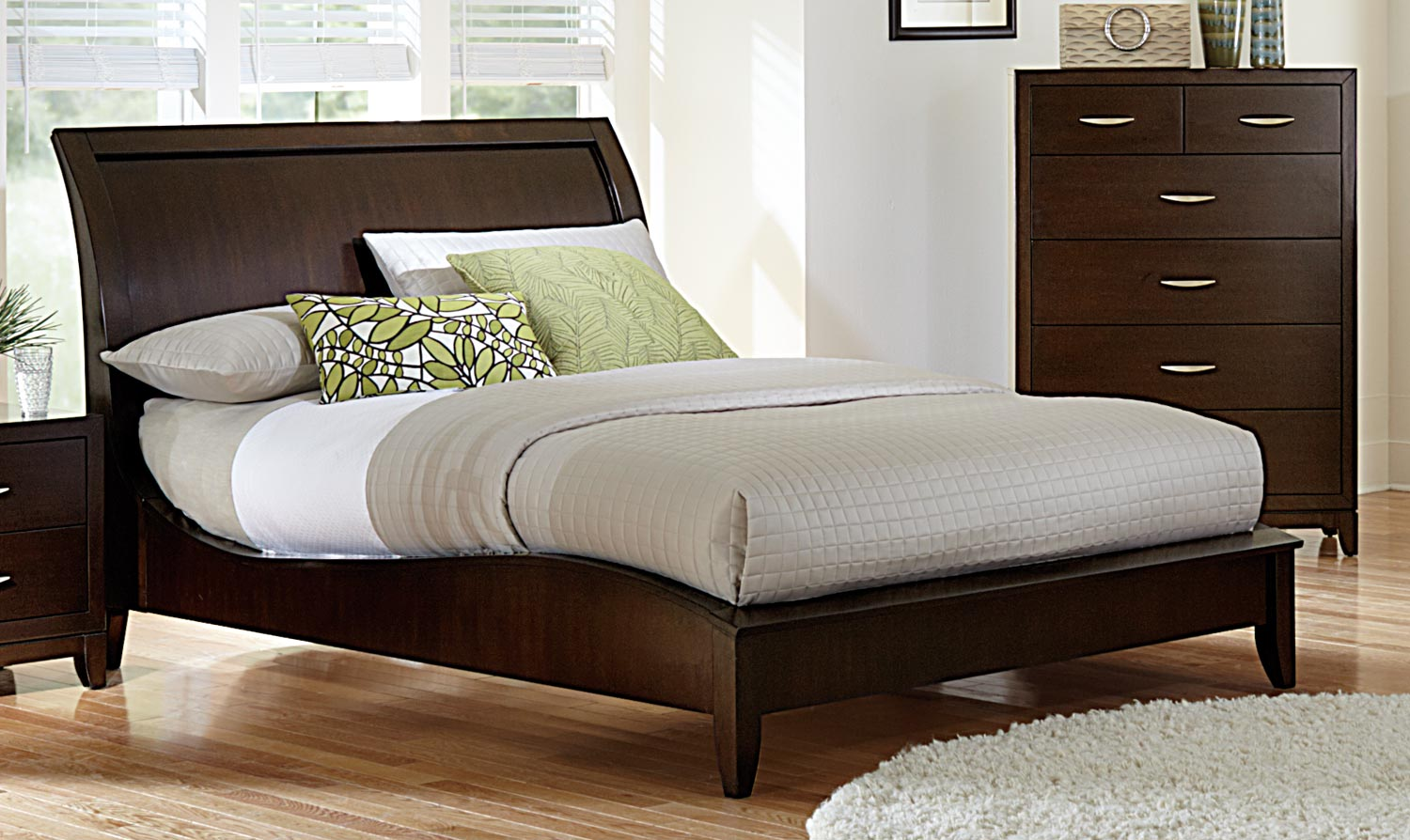 Dark Wooden Bed ~ Homelegance starling sleigh bedroom collection dark