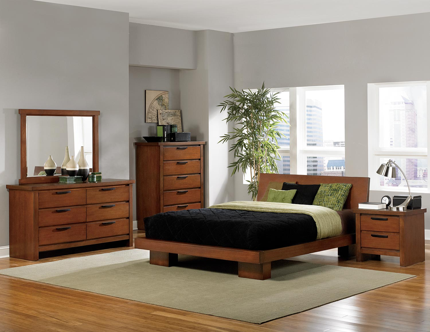 Homelegance Kobe Platform Bedroom Collection - Dark Oak