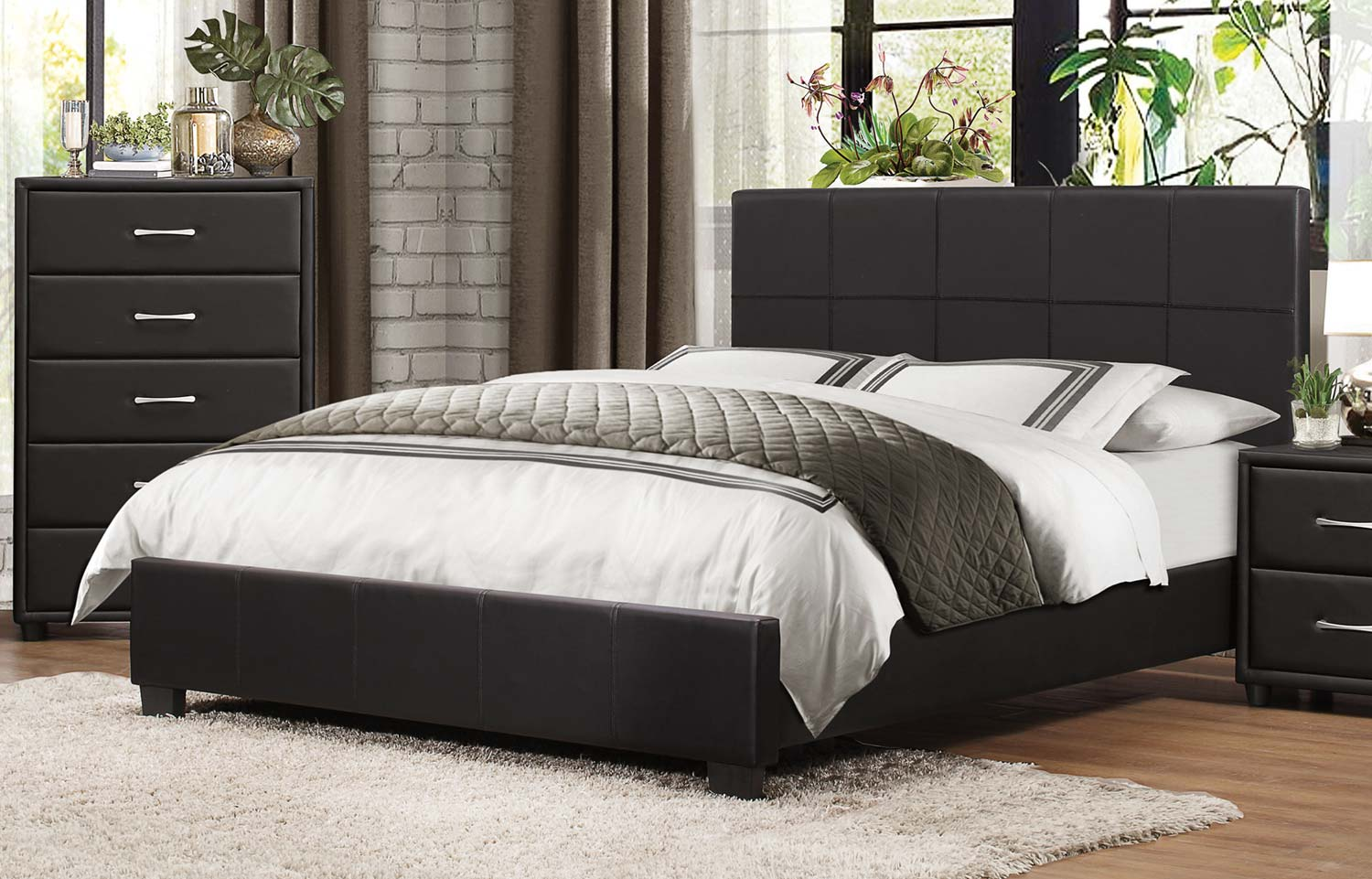 Homelegance Lorenzi Upholstered Platform Bed - Black Vinyl