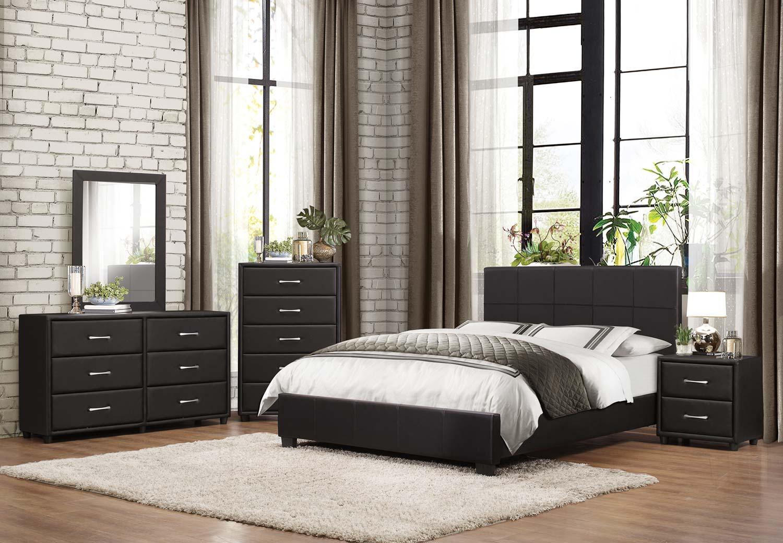 Homelegance Lorenzi Upholstered Platform Bedroom Set - Black Vinyl