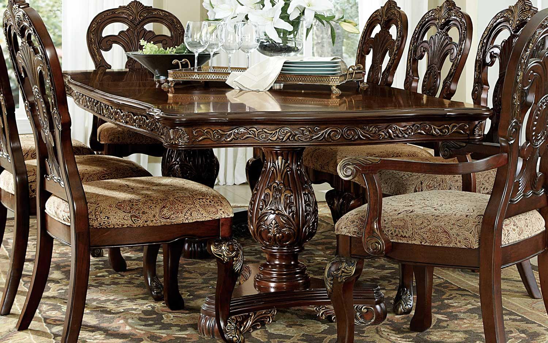 Homelegance Deryn Park Double Pedestal Dining Table - Cherry