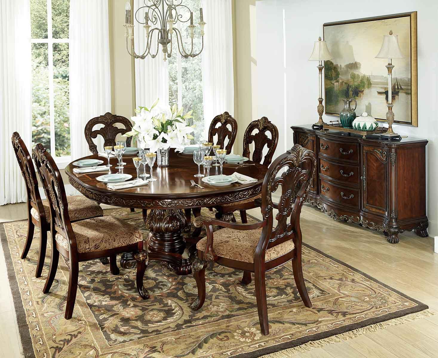 Homelegance Deryn Park Round Pedestal Dining Set - Cherry