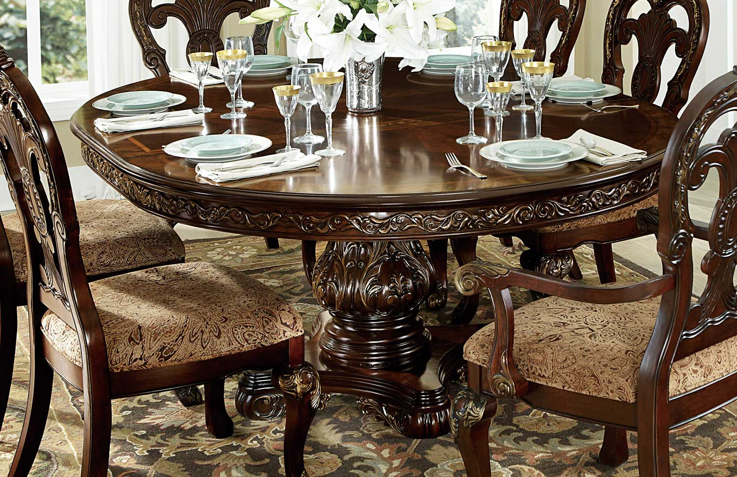 Homelegance Deryn Park Round Pedestal Dining Table - Cherry