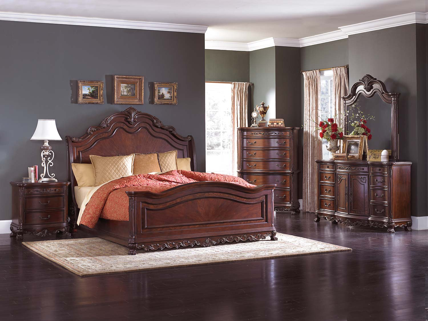 Homelegance Deryn Park Sleigh Bed Set - Cherry