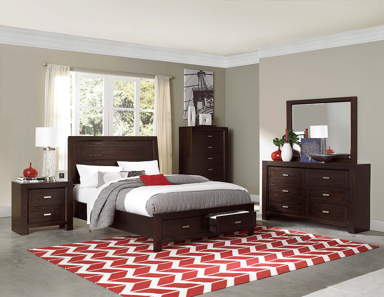 Homelegance Breese Platform Storage Bedroom Collection - Dark Cherry