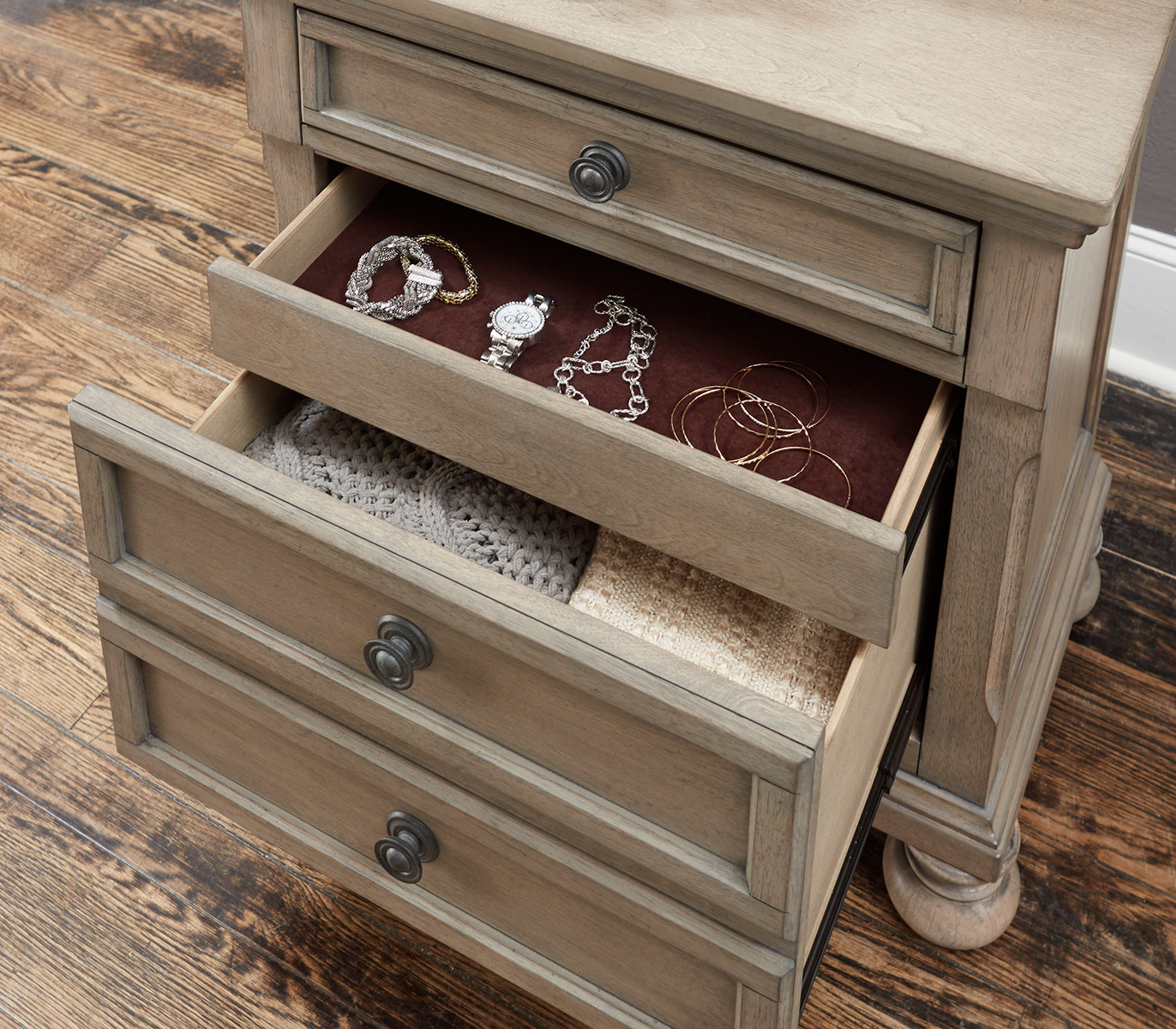 Homelegance Bethel Night Stand - Wire-brushed Gray