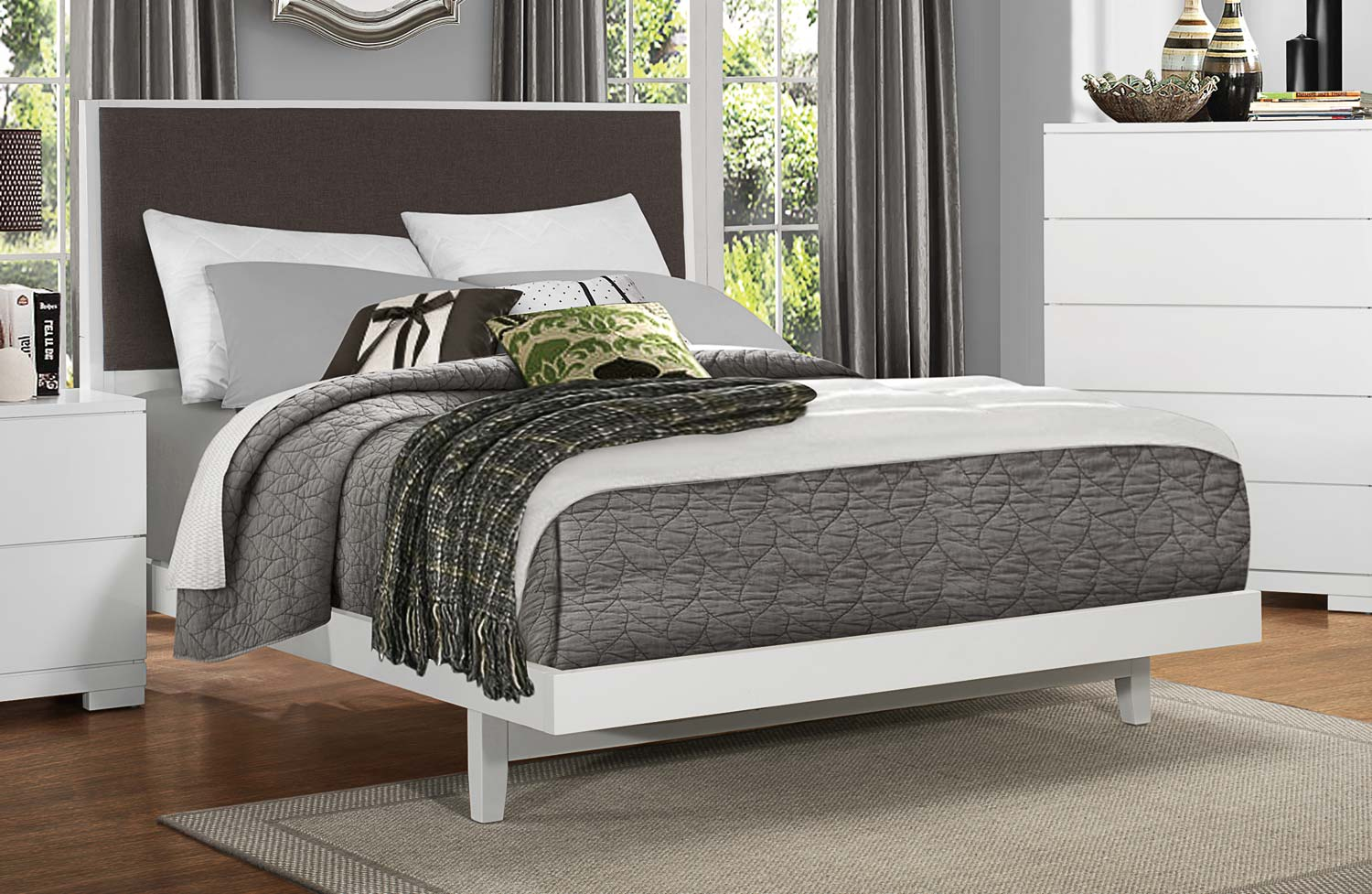Homelegance Galva Upholstered Bed - Bright White