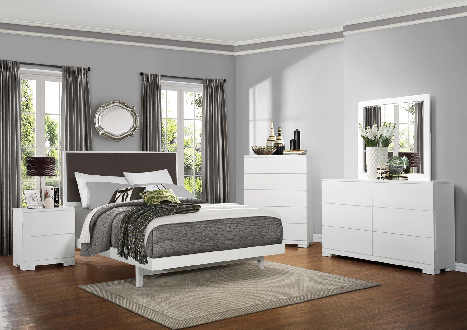 Homelegance Galva Upholstered Bedroom Collection - Bright White
