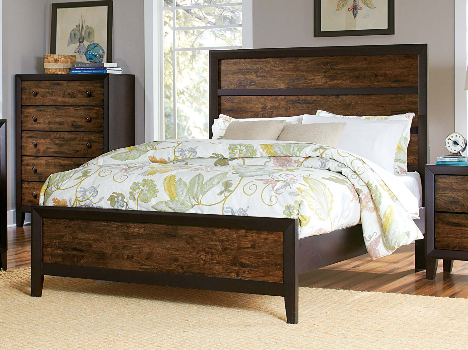 Homelegance Arcola Bed - Espresso/Drifted Oak