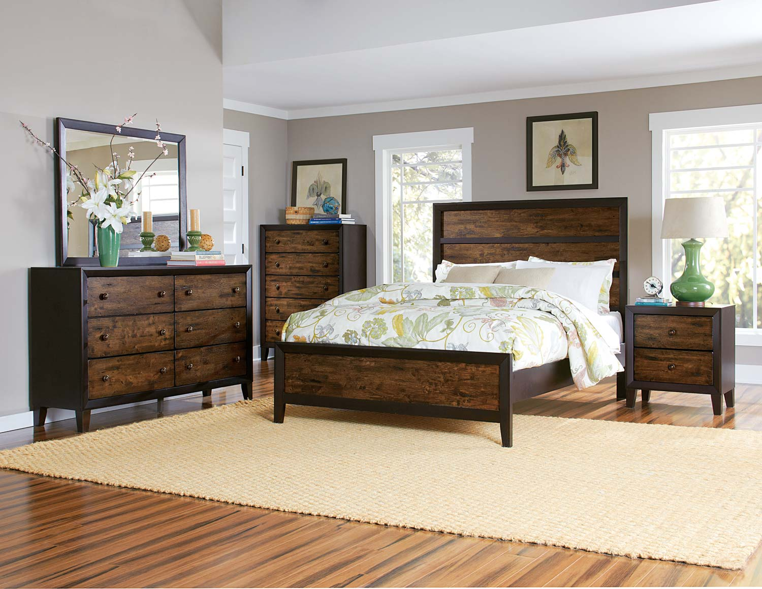 Homelegance Arcola Bedroom Set - Espresso/Drifted Oak