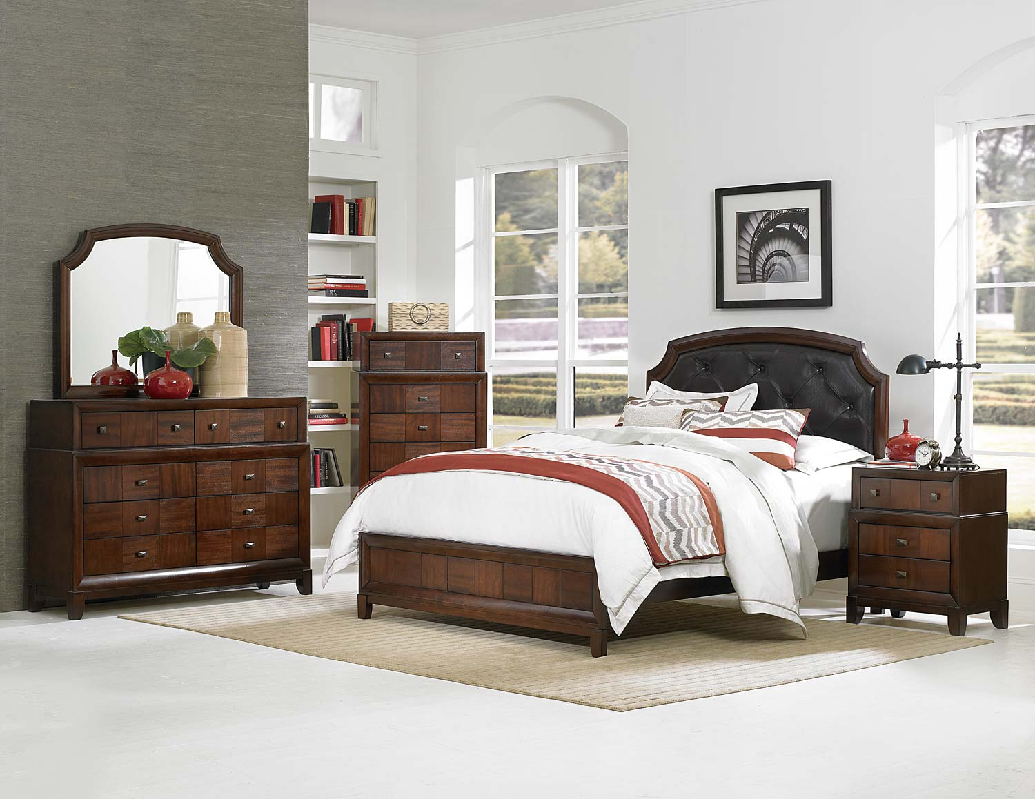 Homelegance Carrie Ann Upholstered Bedroom Set - Parquet Cherry