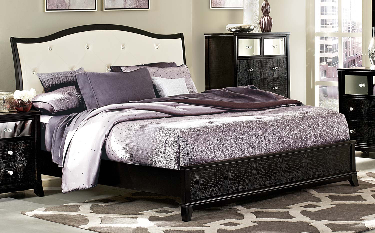 Homelegance Jacqueline Upholstered Bed - Faux Alligator/Black