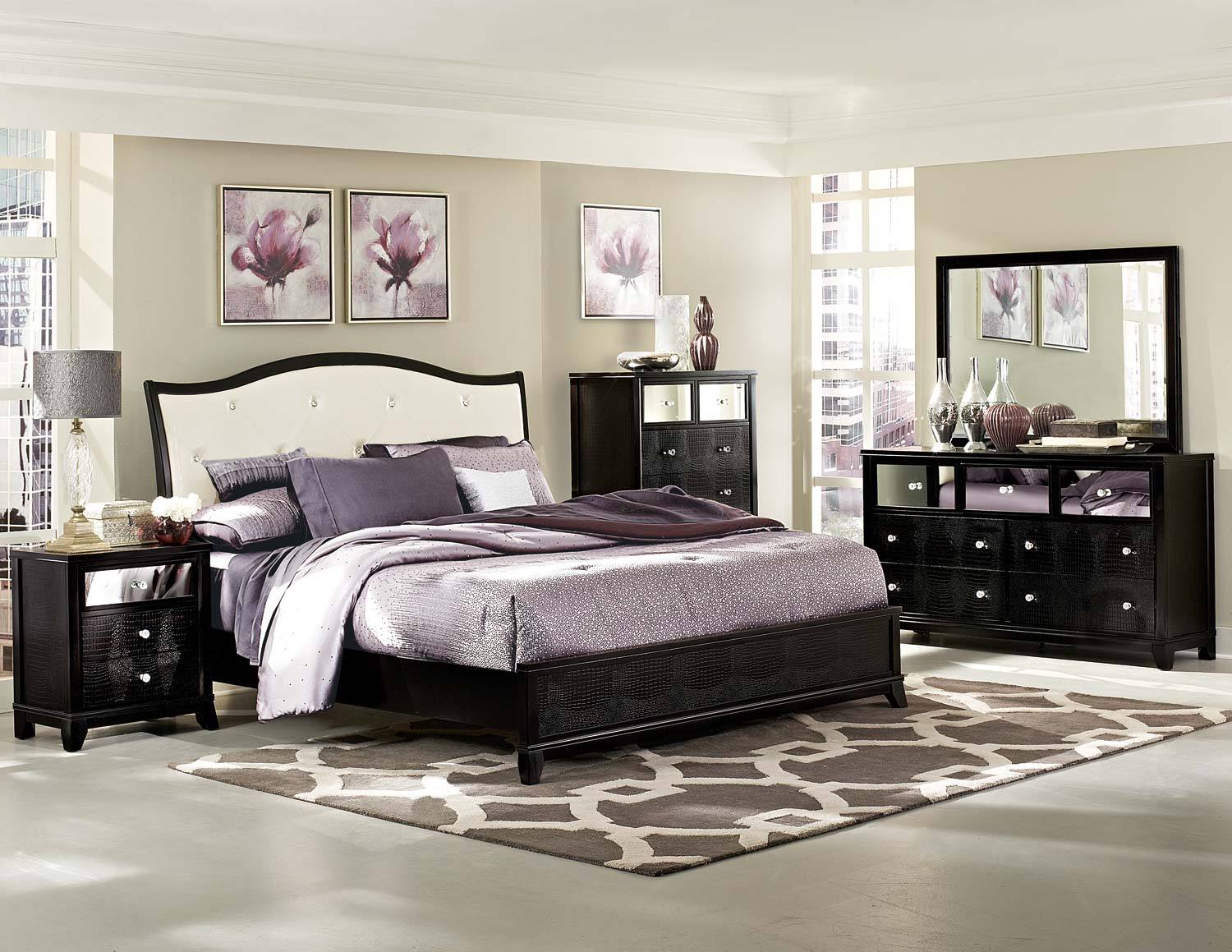 Homelegance Jacqueline Upholstered Bedroom Collection Faux Alligator Black