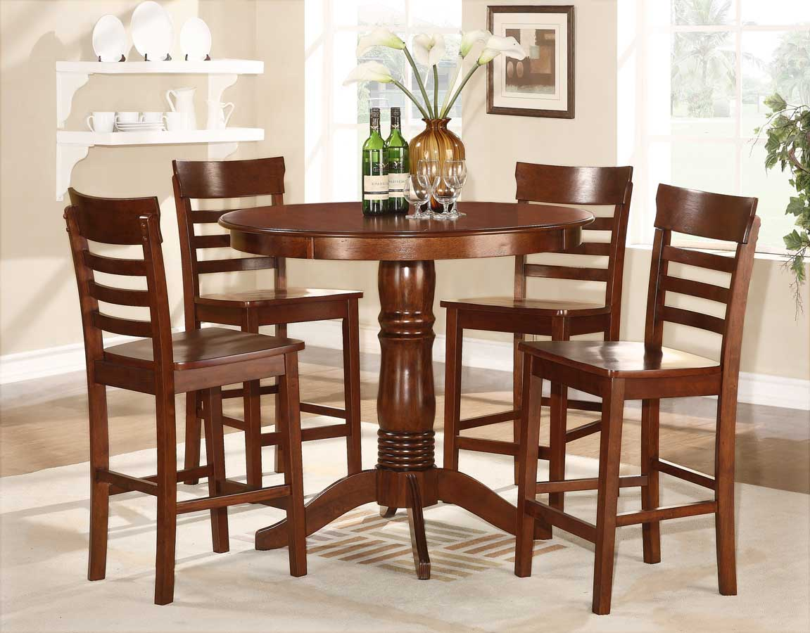 Homelegance Wayland 5-Piece Counter Height Dining Set - Antique Oak