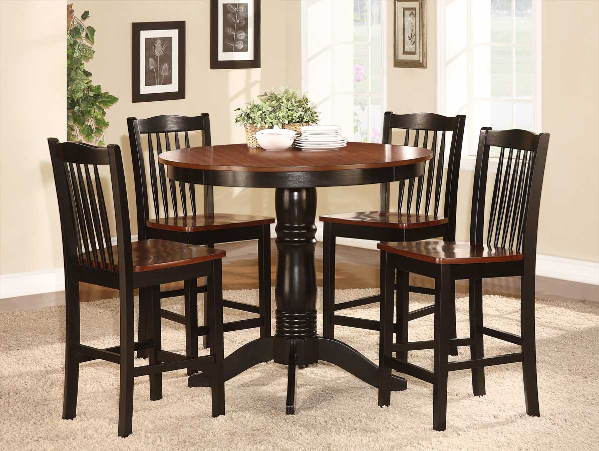 Homelegance Andover 5-Piece Counter Height Dining Set - Antique Oak and Black