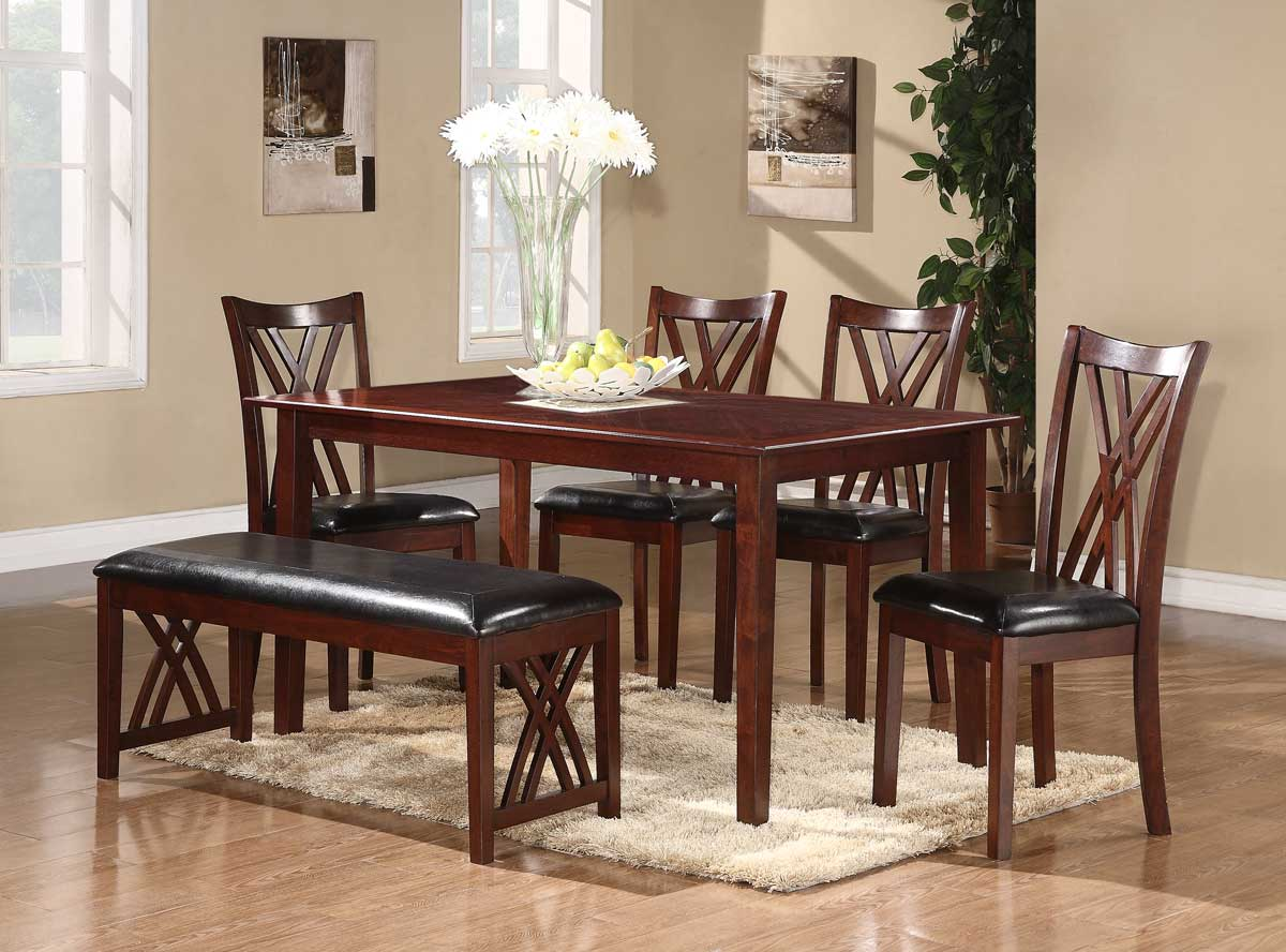Homelegance Brooksville 6-Piece Dining Set - Warm Cherry