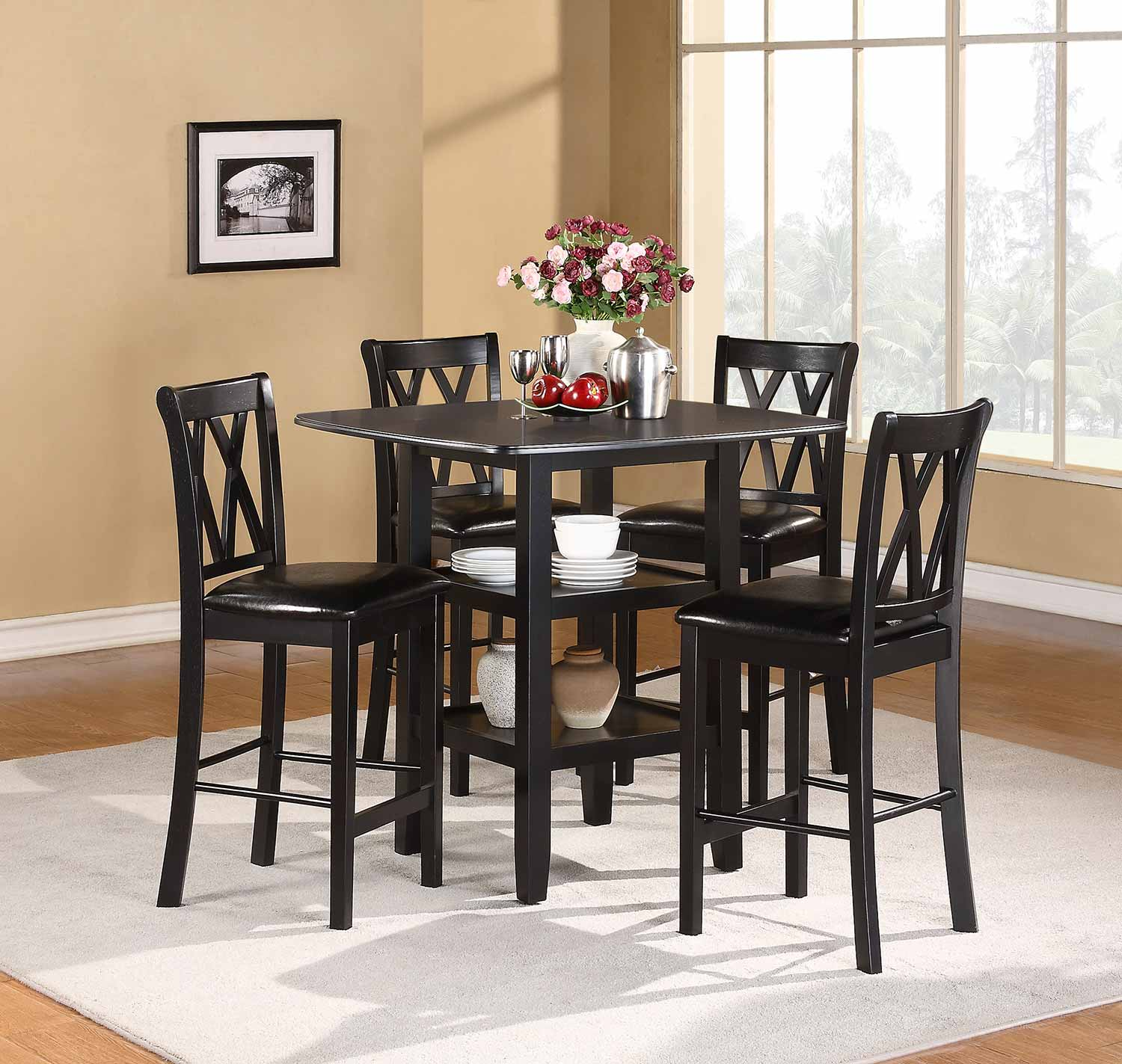 Homelegance Norman 5-Piece Pack Counter Height Set - Black