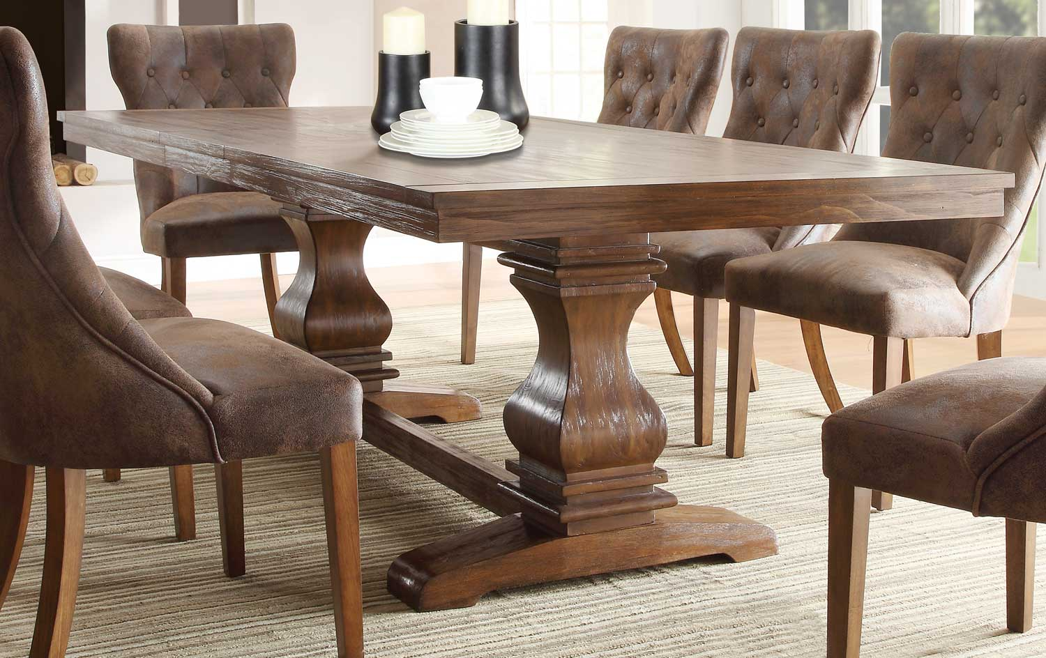 Homelegance marie louise dining set rustic oak brown for Dining table and chairs