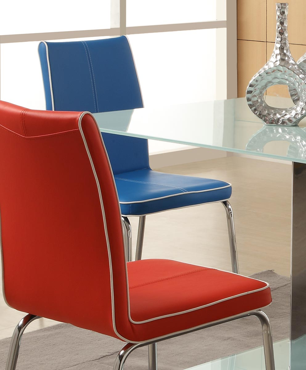 Homelegance Goran Side Chair - Blue - Bi-Cast Vinyl