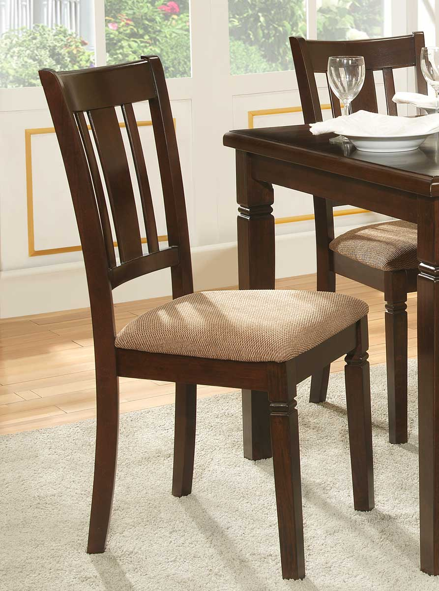 Homelegance Devlin Side Chair - Espresso - Beige Fabric