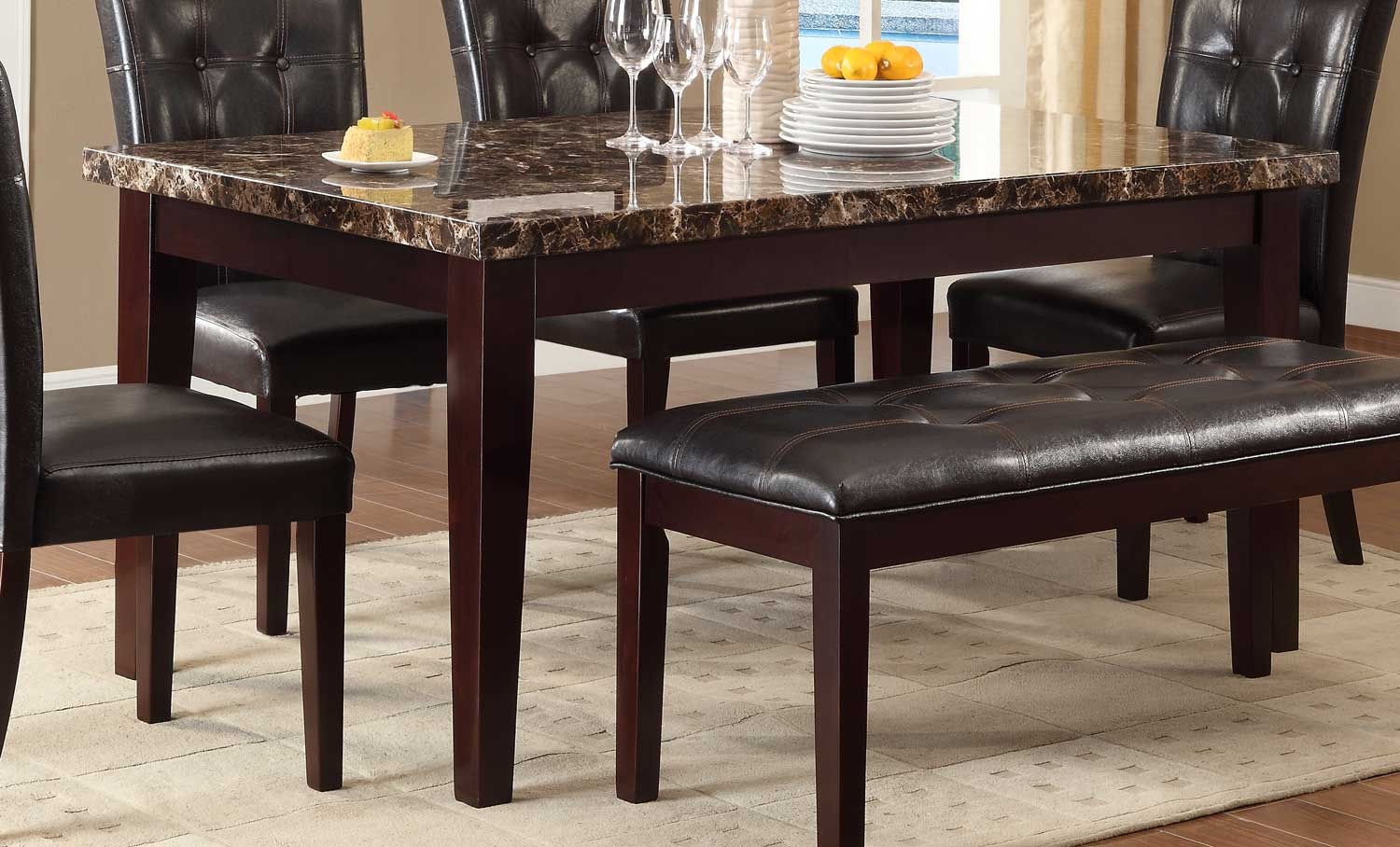 Granite Top Kitchen Table Set: Homelegance Teague Faux Marble Dining Table