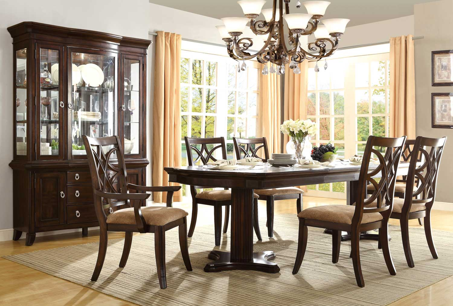 Homelegance Keegan Double Pedestal Dining Set   Neutral Tone Fabric   Cherry