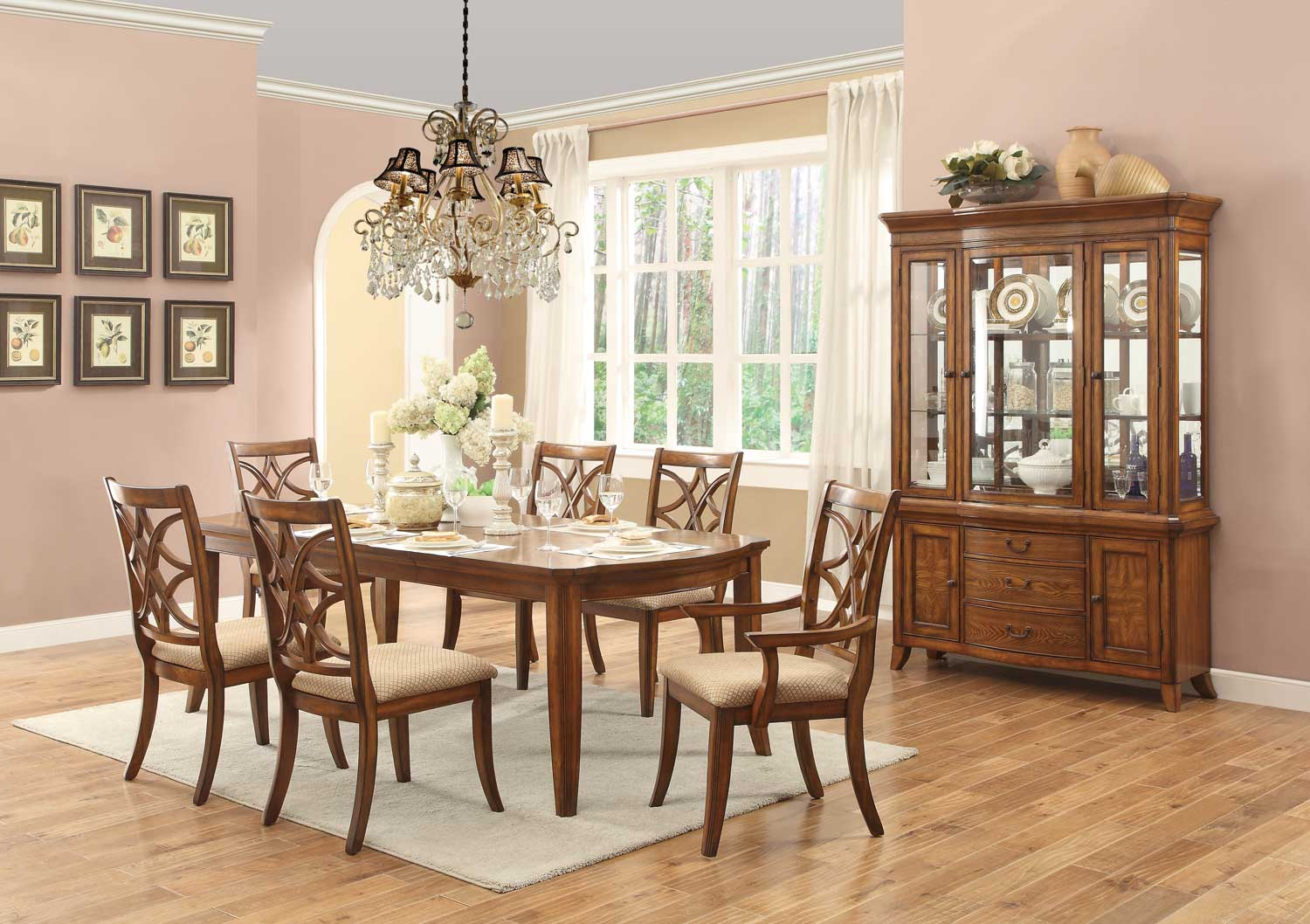 Homelegance Keegan II Leg Dining Table Set - Neutral Tone Fabric - Oak