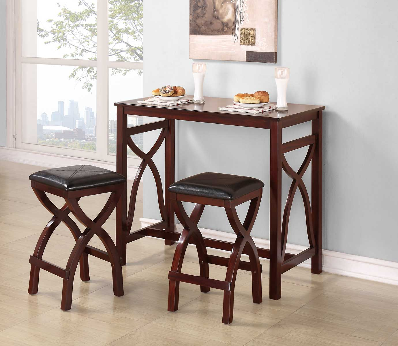 Homelegance Delling 3PC Counter Height Breakfast Dining Set - Warm Cherry