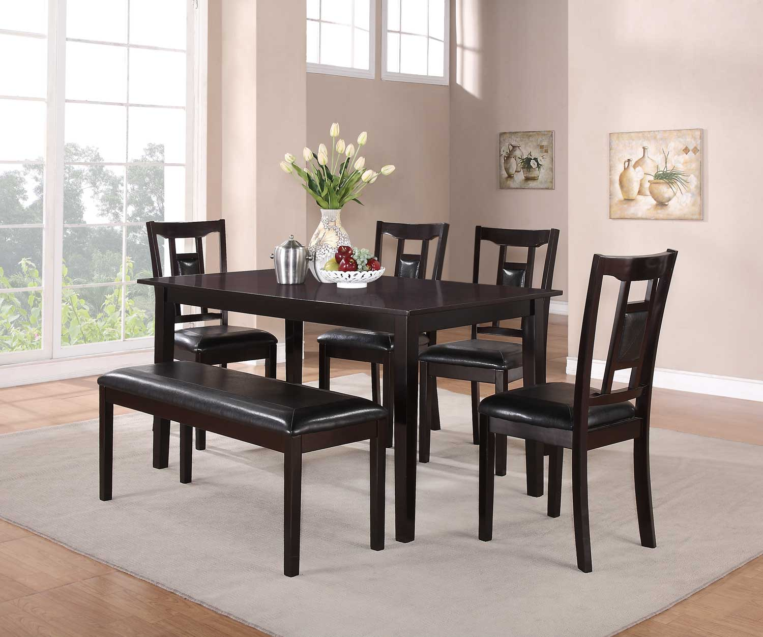 Homelegance Tristan 6PC Dinette Set with Bench - Espresso
