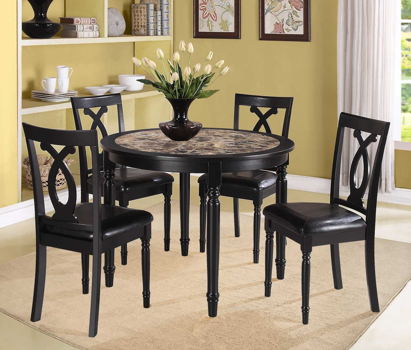Homelegance Piper 5PC Round Dinette Set - Faux Marble