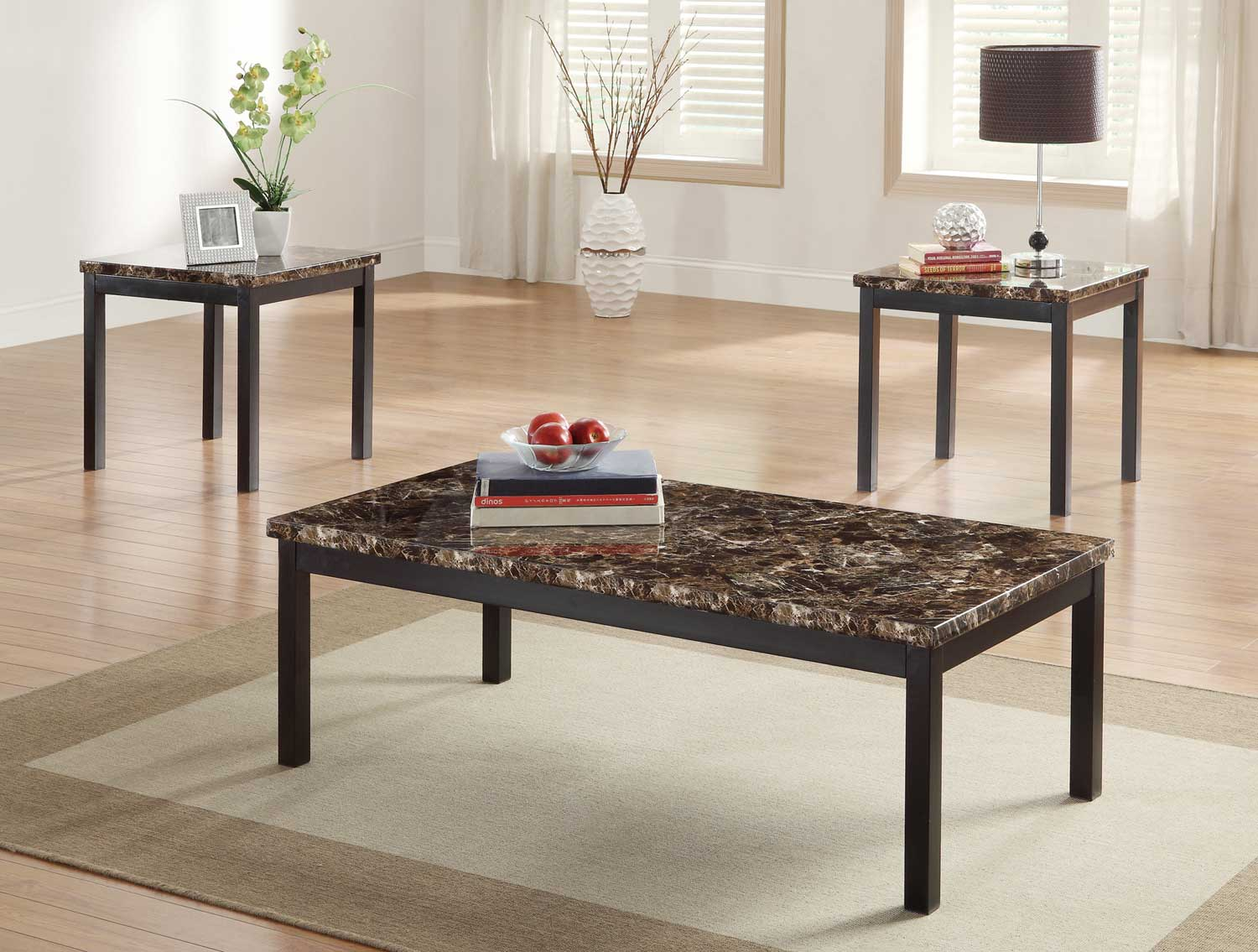 Homelegance Tempe 3-Piece Occasional Tables - Faux Marble Top - Black Metal