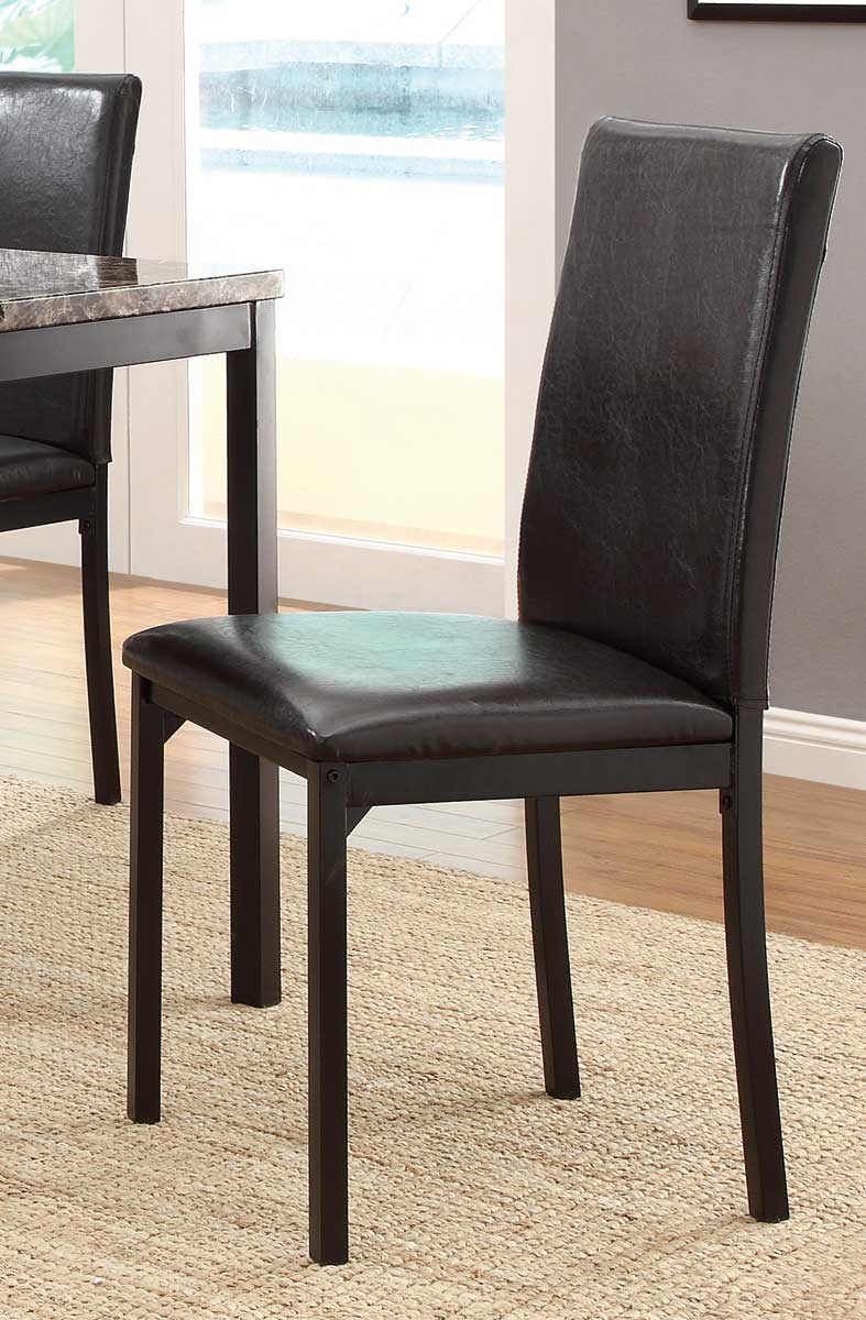 Homelegance Tempe Side Chair - Black - Dark Brown Bi-Cast Vinyl