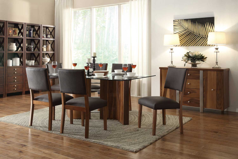 Homelegance Aria Dining Set - Dark Brown Chairs - Dark Brown Bi-Cast Vinyl - Walnut