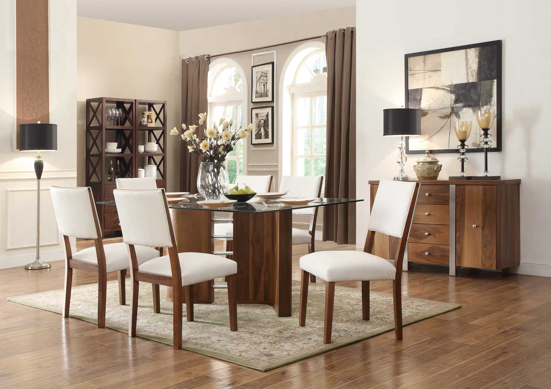 Homelegance Aria Dining Set - White Chairs - White Bi-Cast Vinyl - Walnut