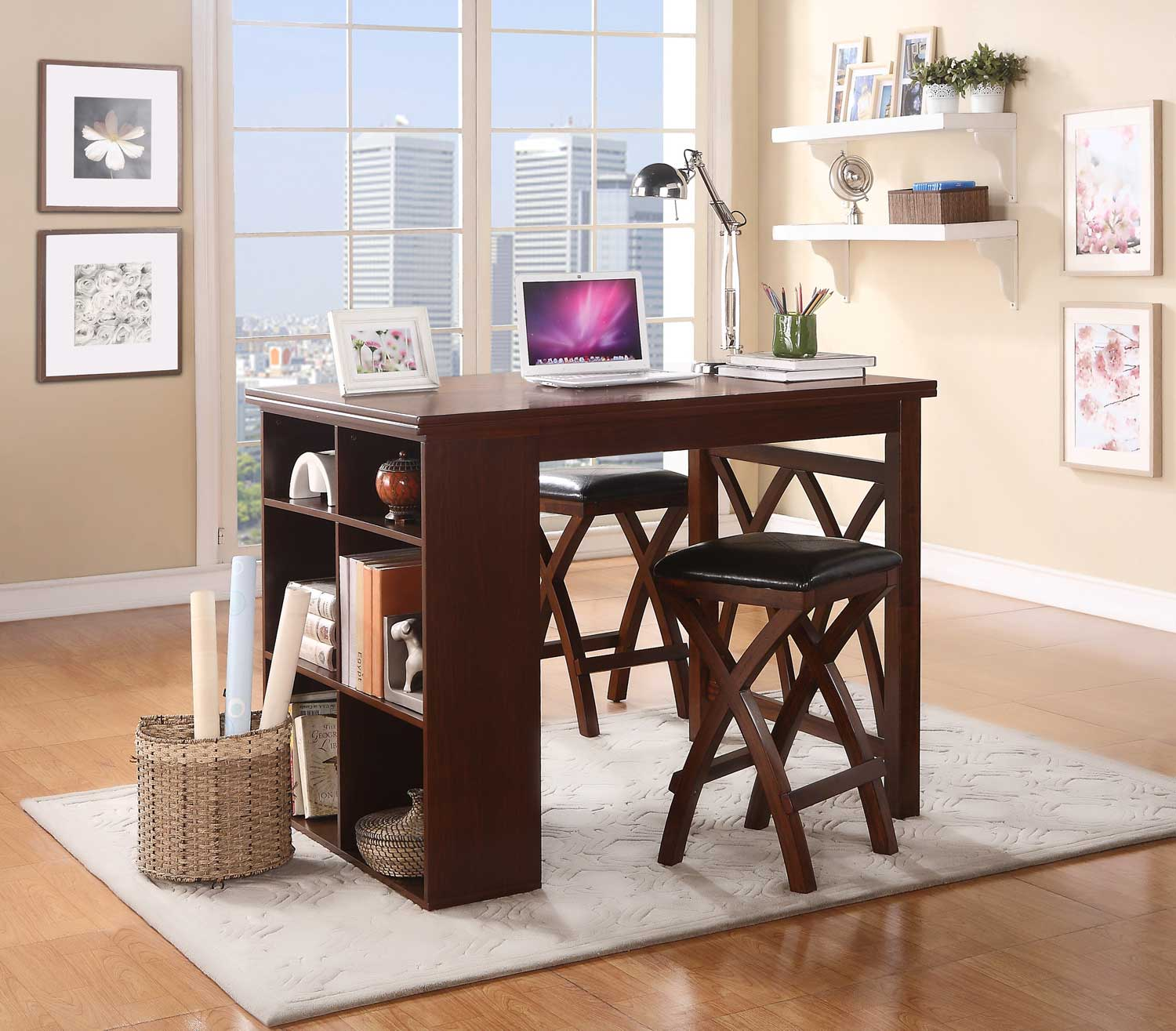 Homelegance Mably 3 Piece Counter Height Set with Shelves - Black Vinyl - Brown Cherry