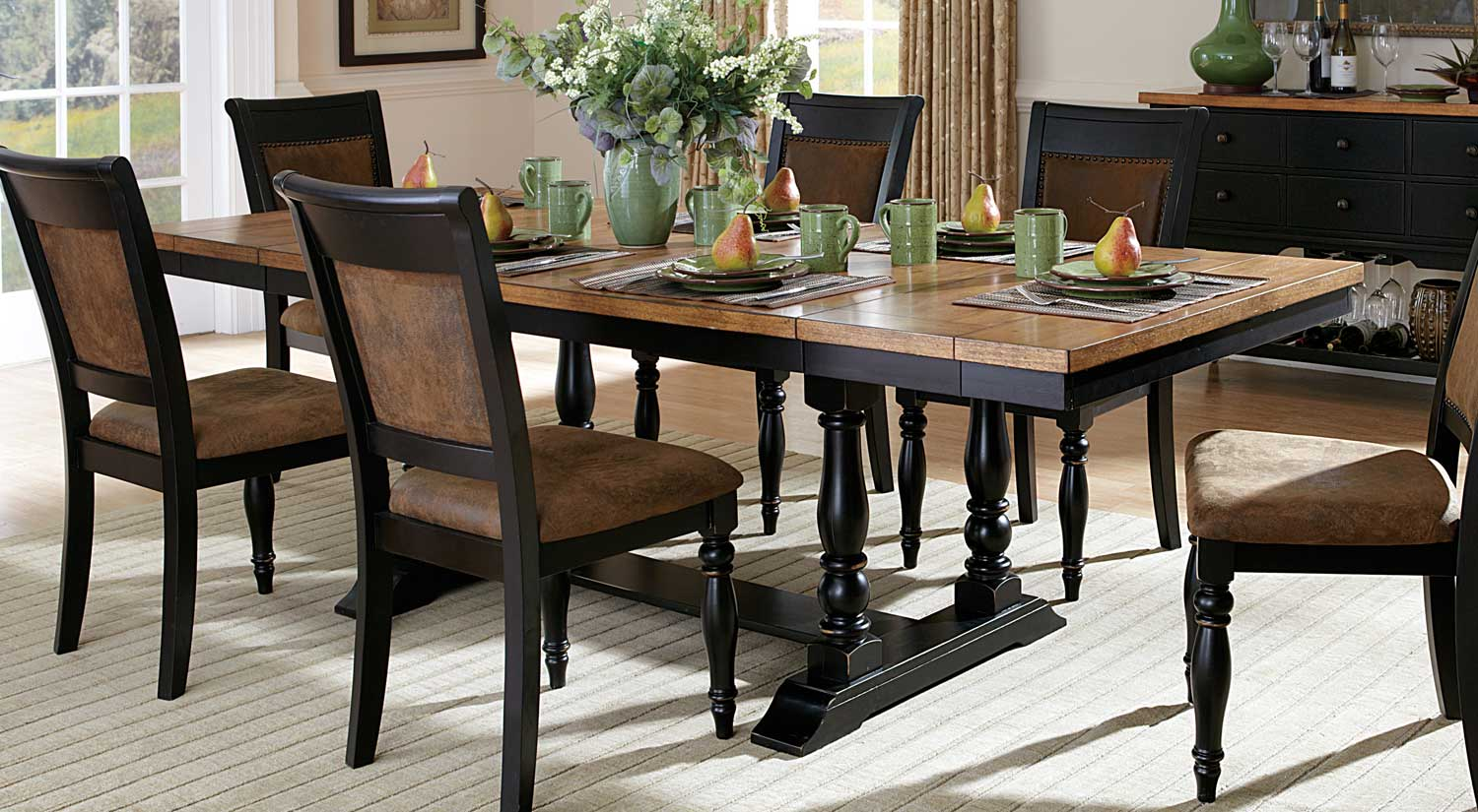Dining Table With Two End Leaves Acacia Distressed Black 40 X 72