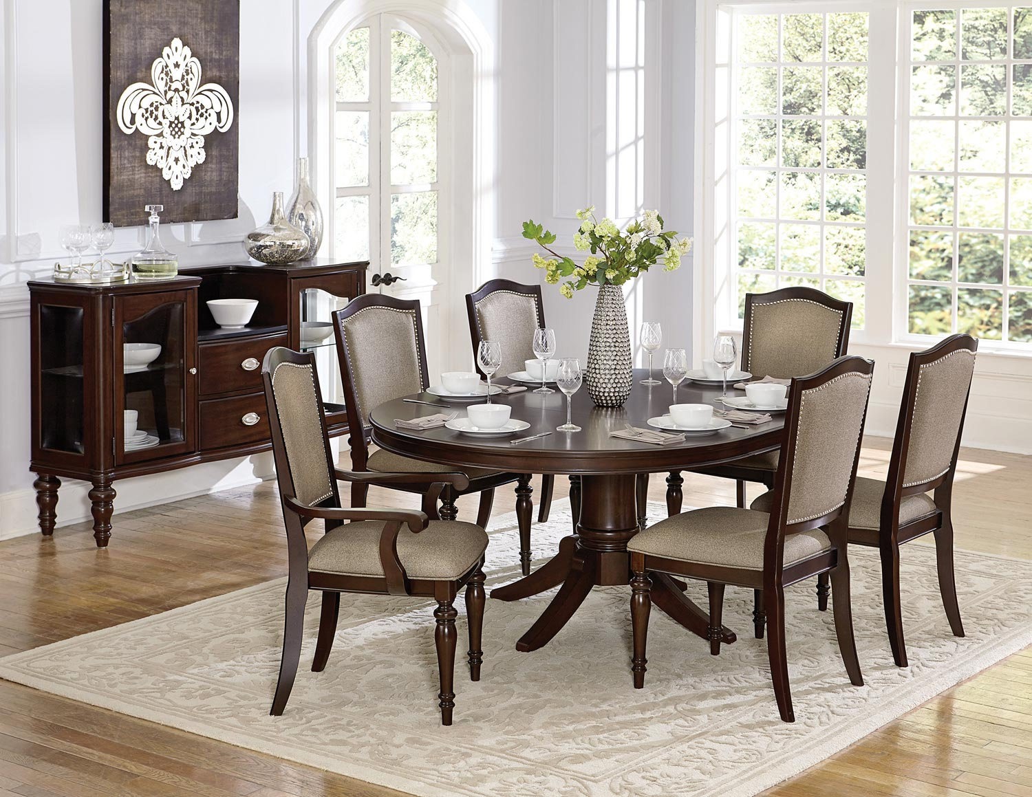 Homelegance Marston Pedestal Dining Set - Dark Cherry