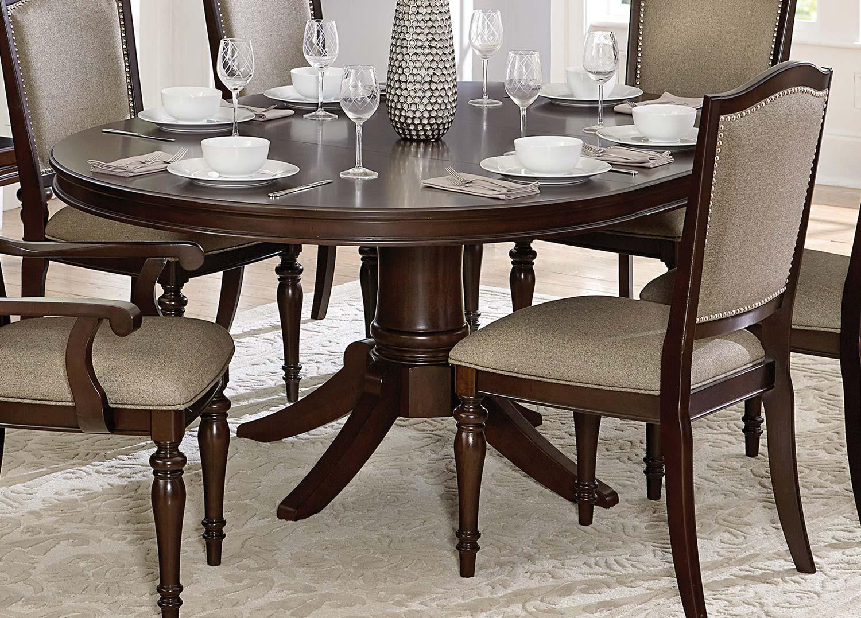Homelegance Marston Pedestal Dining Table   Dark Cherry