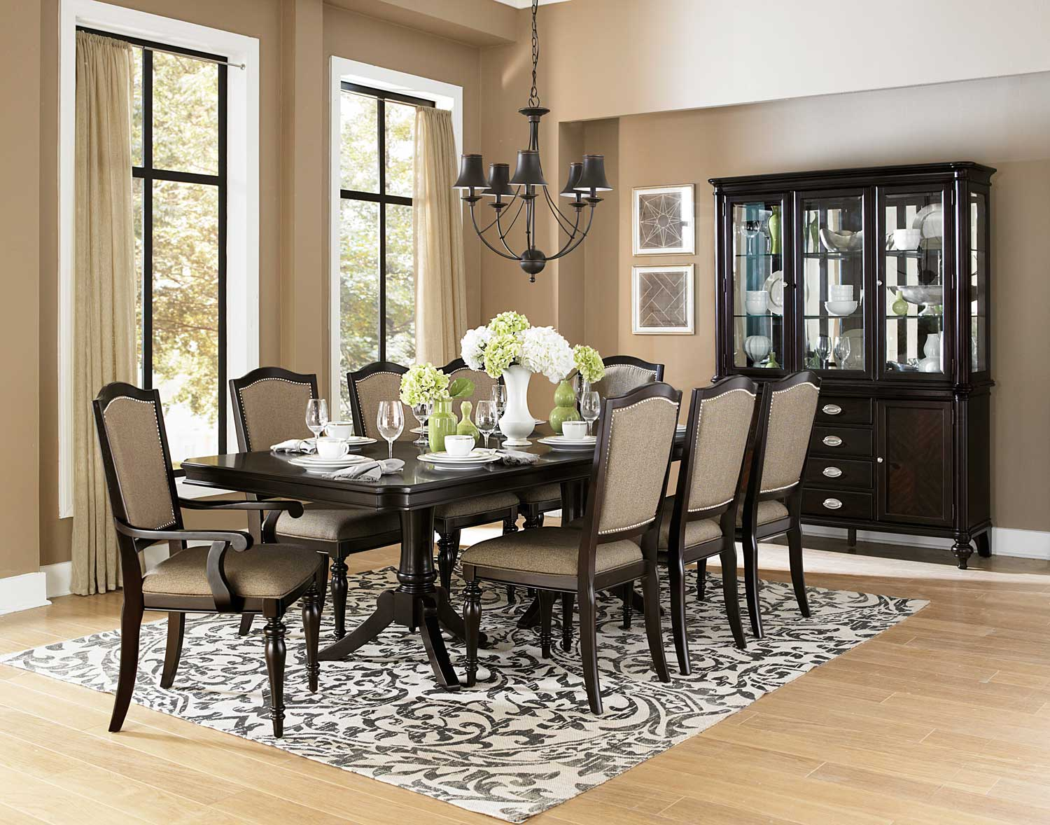 Homelegance Marston Double Pedestal Dining Set - Neutral tone fabric - Dark Cherry
