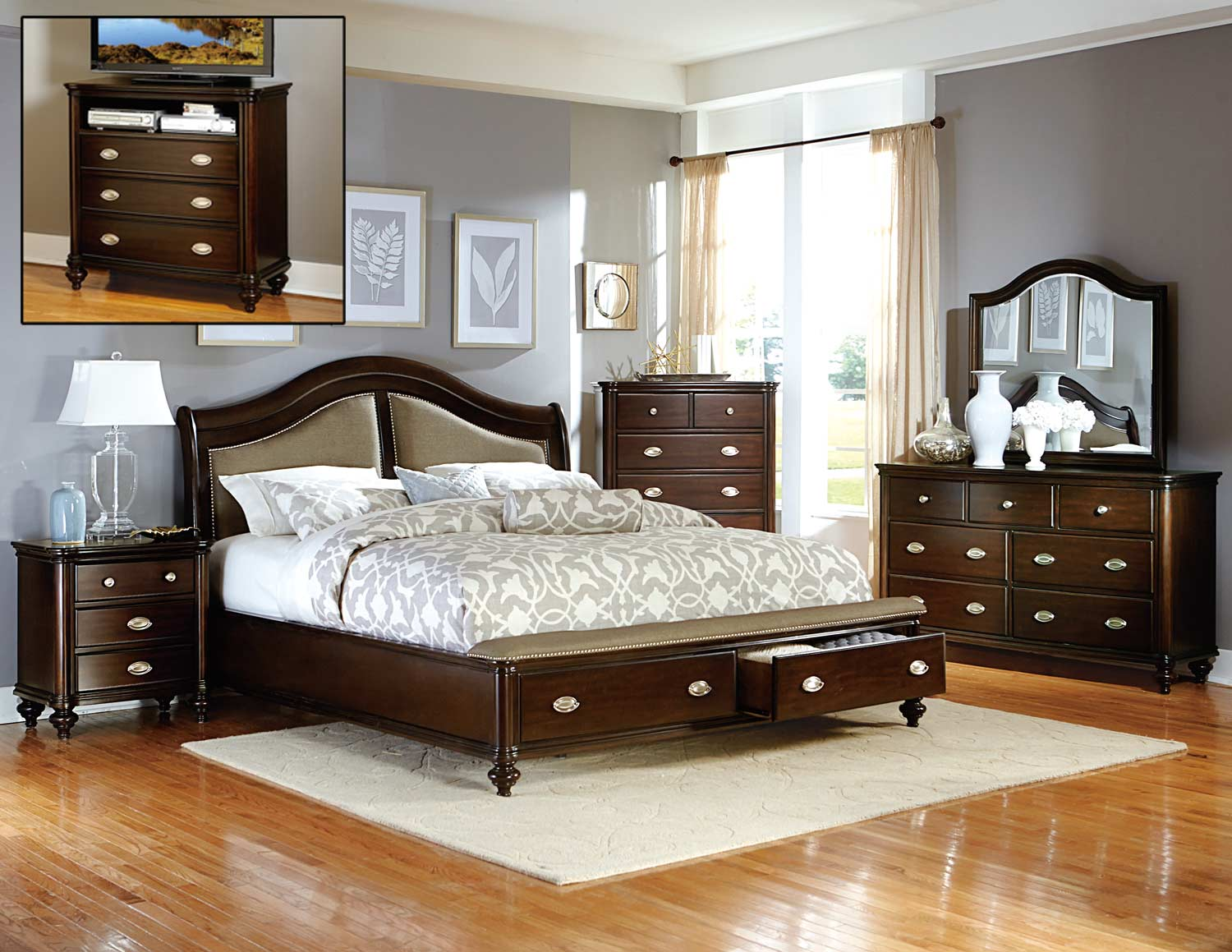 Homelegance Marston Bedroom Set - Dark Cherry