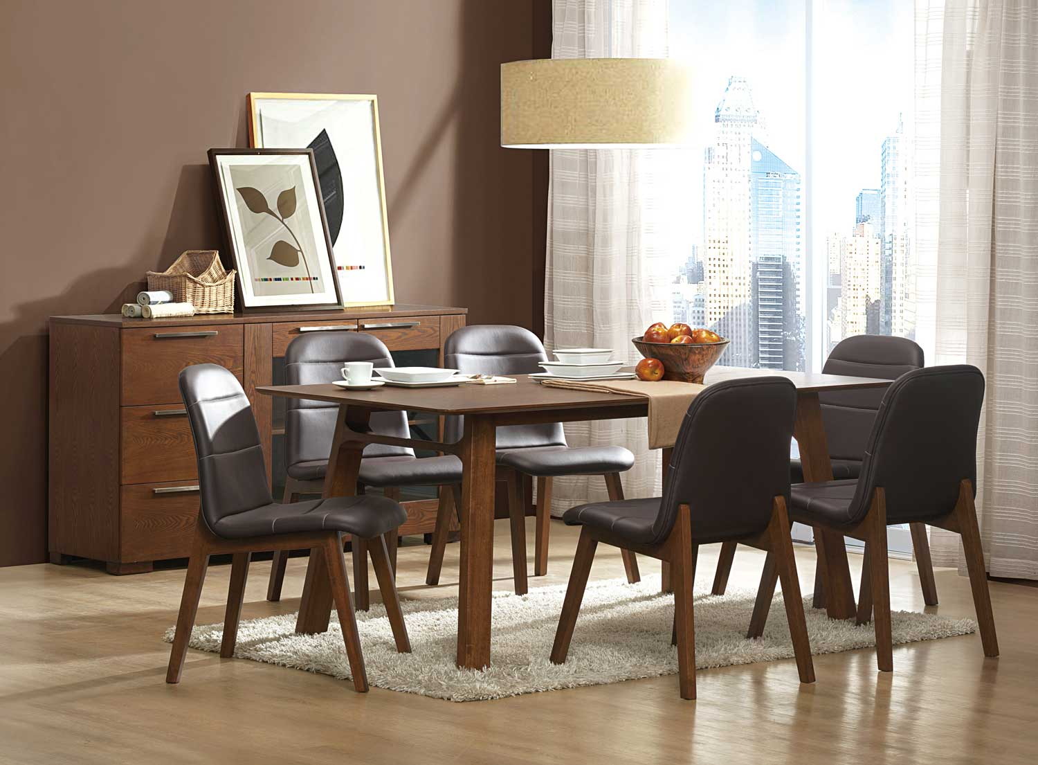 Homelegance Juno Dining Set - Walnut
