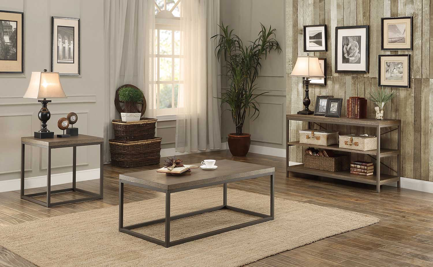 Homelegance Daria Coffee Table Set - Weathered Wood Table Top with Metal Framing
