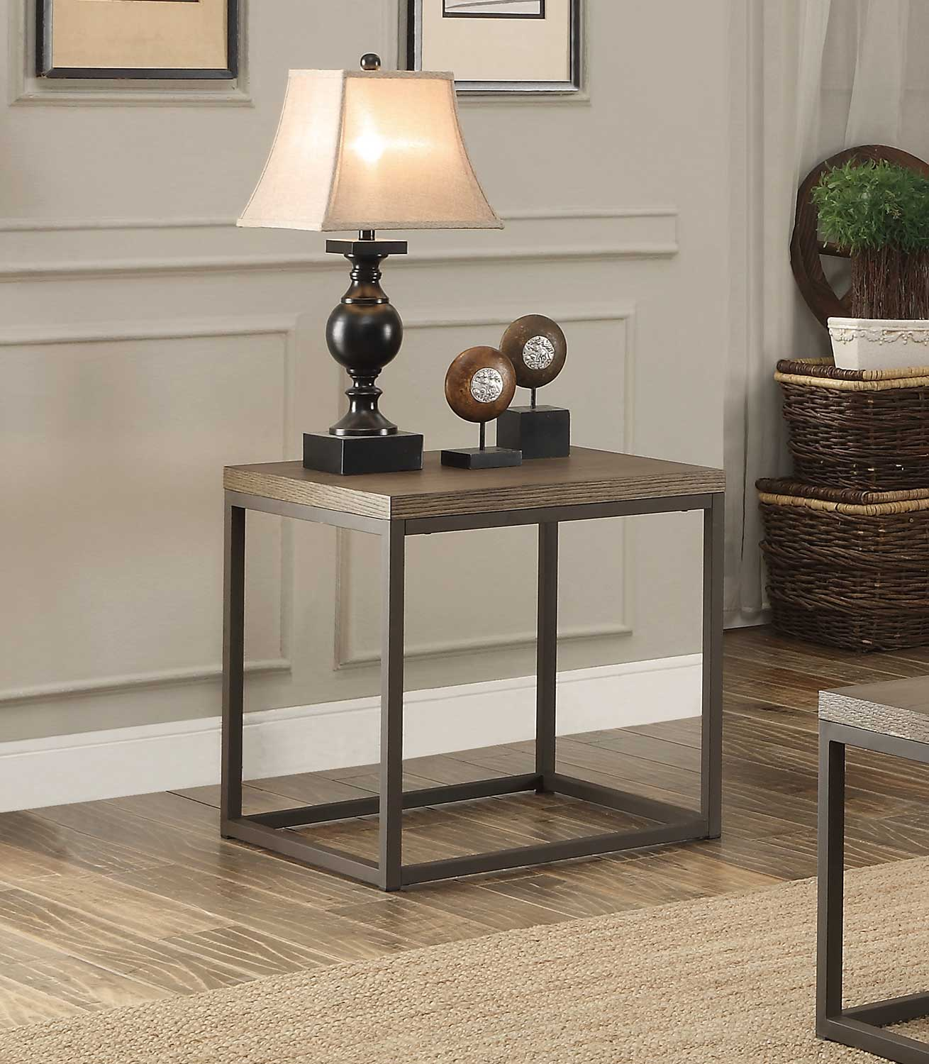 Homelegance Daria End Table - Weathered Wood Table Top with Metal Framing