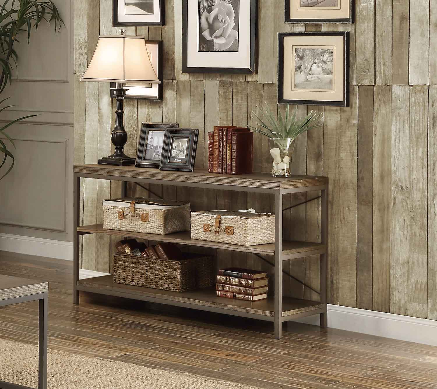 Homelegance Daria Sofa Table/TV Stand - Weathered Wood Table Top with Metal Framing