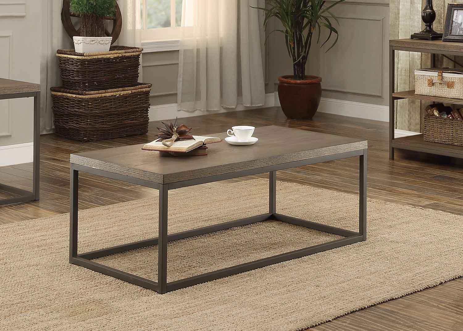 Homelegance Daria Cocktail/Coffee Table - Weathered Wood Table Top with Metal Framing