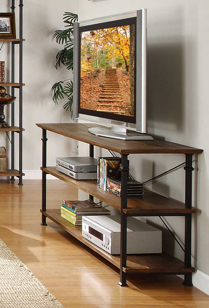 Homelegance Factory Sofa Table - Solid Top - Rustic Brown