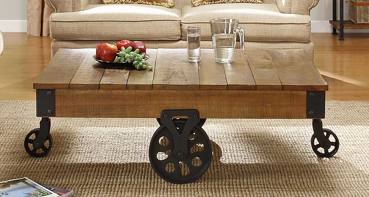 Homelegance Factory Cocktail Table - Solid Top with Wheels - Rustic Brown