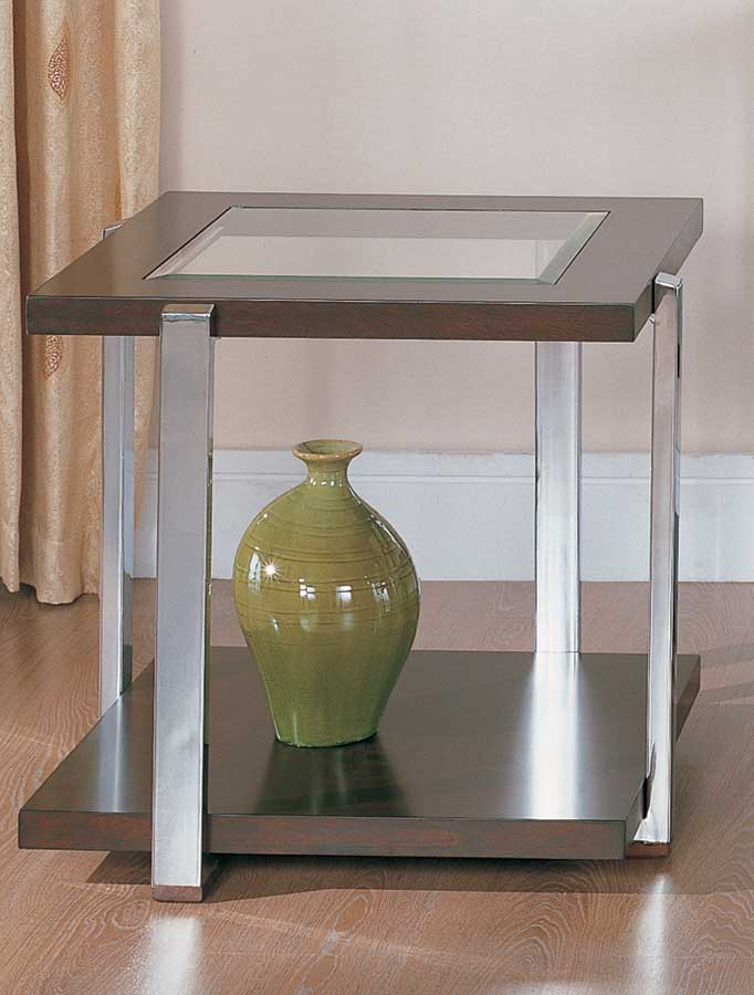 Homelegance Calvert End Table with Chrome Legs
