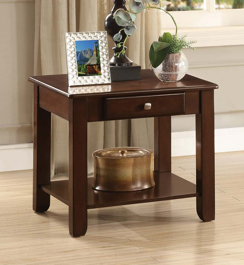 Homelegance Ballwin End Table with Functional Drawer - Deep Cherry