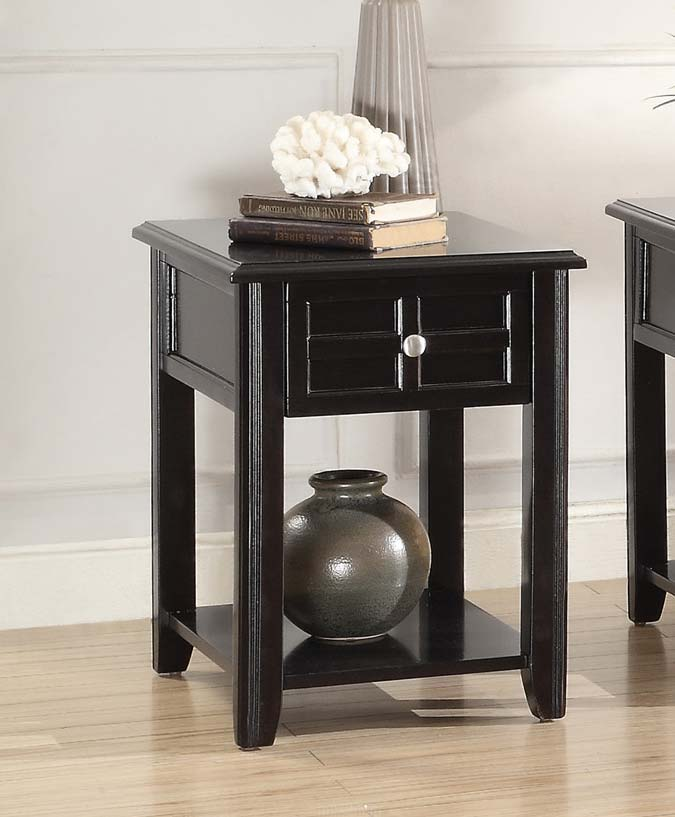 Homelegance Carrier Chairside Table with Functional Drawer - Dark Espresso